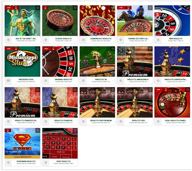 Al casinò Sisal troverai molti giochi di roulette per giocare e vincere.