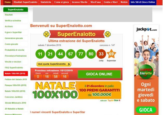 Jackpot Superenalotto lotteria per giocare e vincere milioni di euro.
