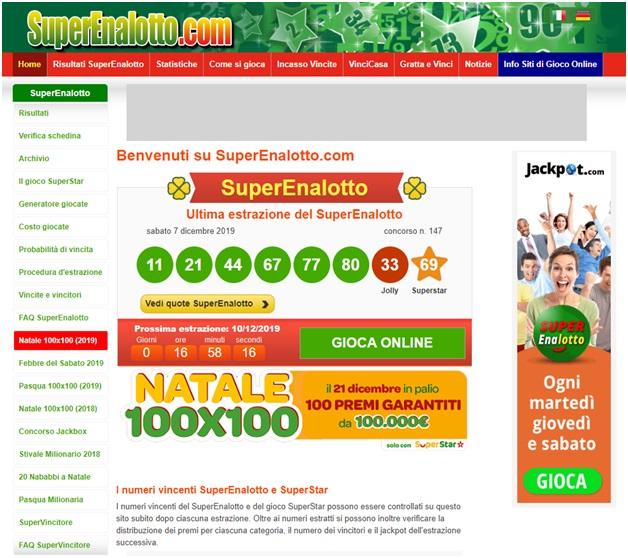 Jackpot Superenalotto italia lotteria