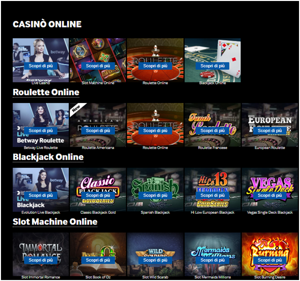 betway italia casino per giocare alle slot machine