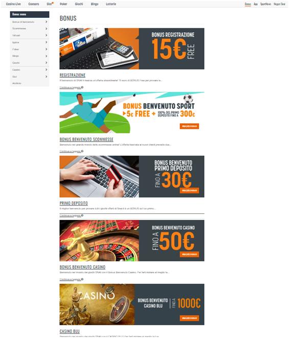 bonus senza deposito al casinò Snai 15 euro di BONUS Gratis per provare le promozioni di Snai