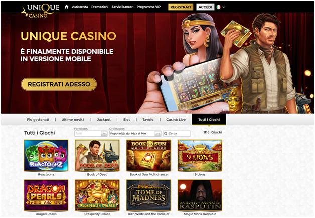 unique casino versione mobile